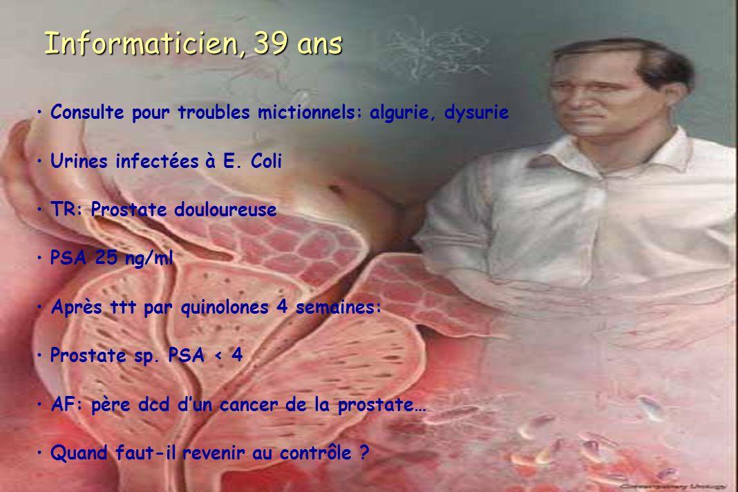 Informaticien, 39 ans Consulte pour troubles mictionnels: algurie, dysurie Urines infectées à E. Coli TR: Prostate douloureuse PSA 25 ng/ml Après ttt