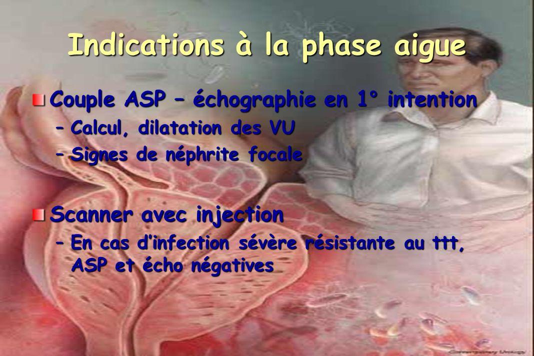 Indications à la phase aigue Couple ASP – échographie en 1° intention –Calcul, dilatation des VU –Signes de néphrite focale Scanner avec injection –En