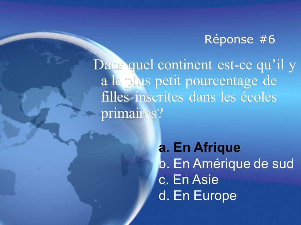 Réponse #6 Dans quel continent est-ce quil y a le plus petit pourcentage de filles inscrites dans les écoles primaires.