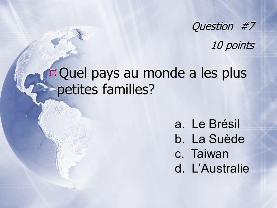 Question #7 10 points Quel pays au monde a les plus petites familles.