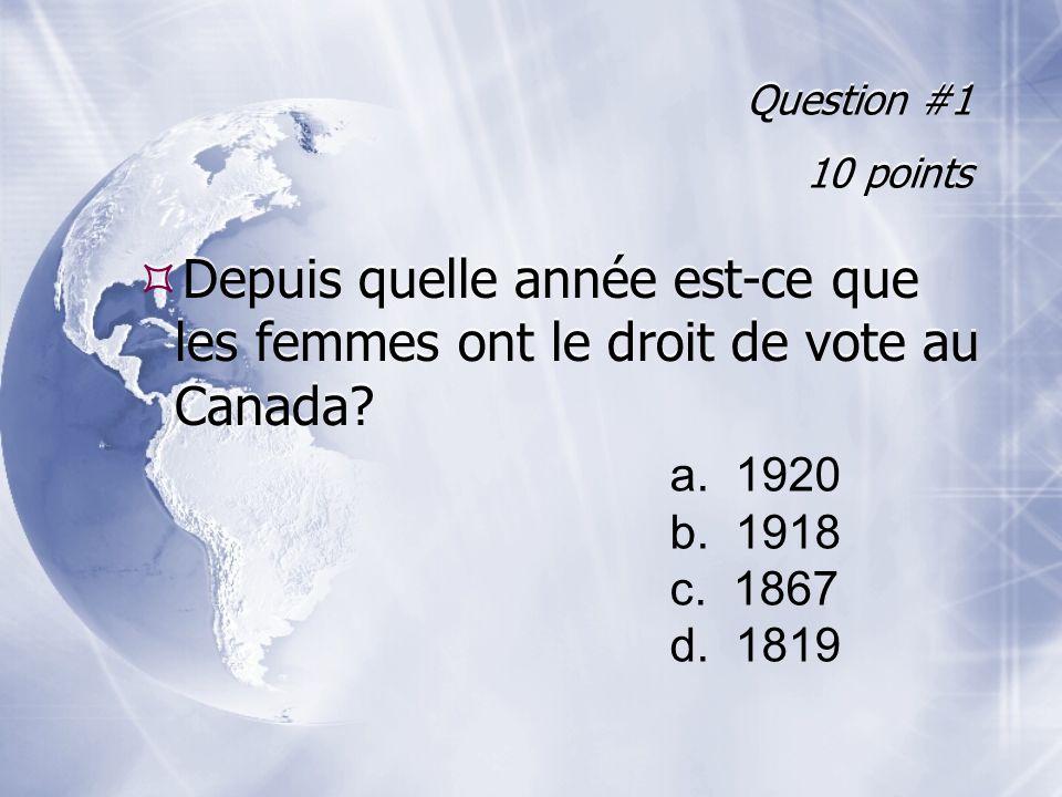Question #1 10 points Depuis quelle année est-ce que les femmes ont le droit de vote au Canada.