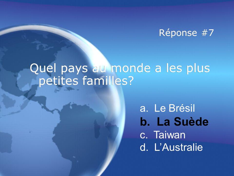 Réponse #7 Quel pays au monde a les plus petites familles.