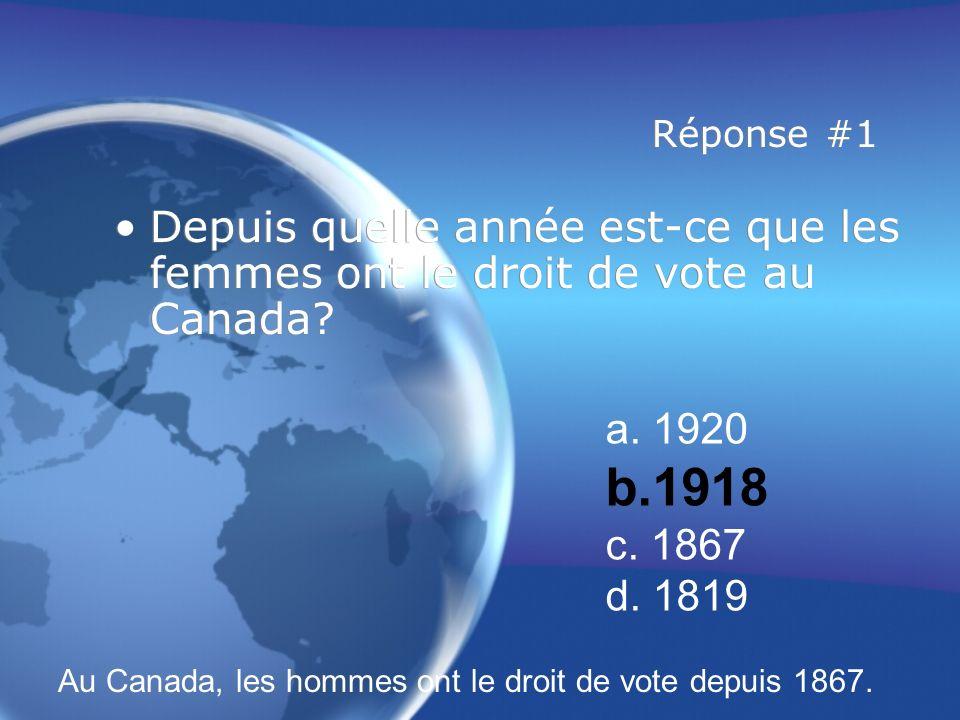 Réponse #1 Depuis quelle année est-ce que les femmes ont le droit de vote au Canada.