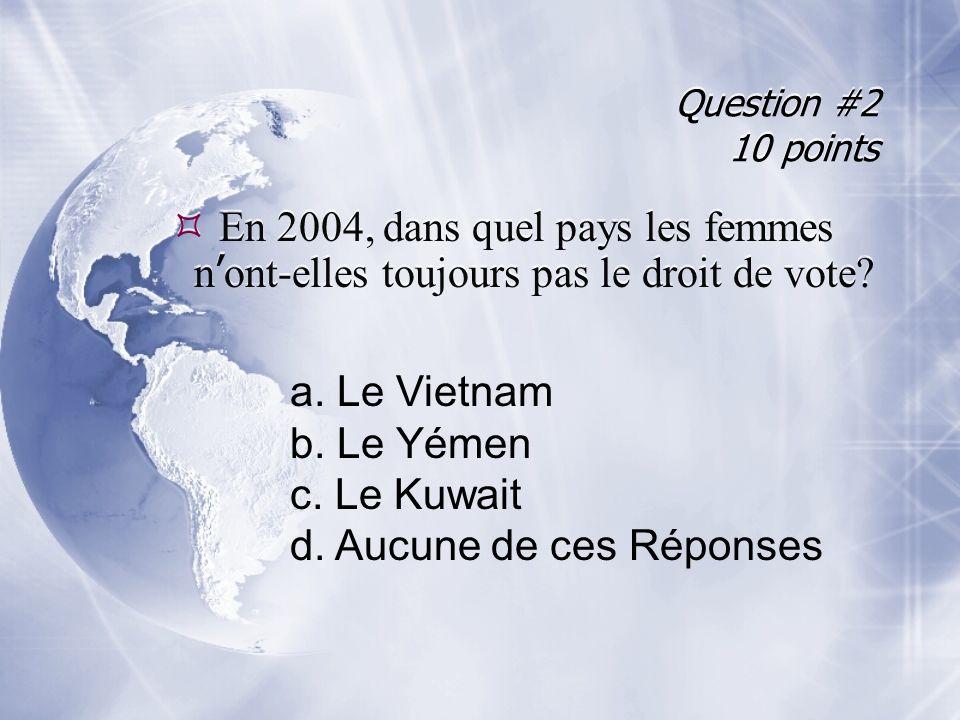 Question #2 10 points En 2004, dans quel pays les femmes n ont-elles toujours pas le droit de vote.