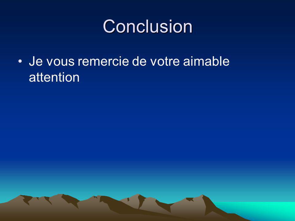 Conclusion Je vous remercie de votre aimable attention