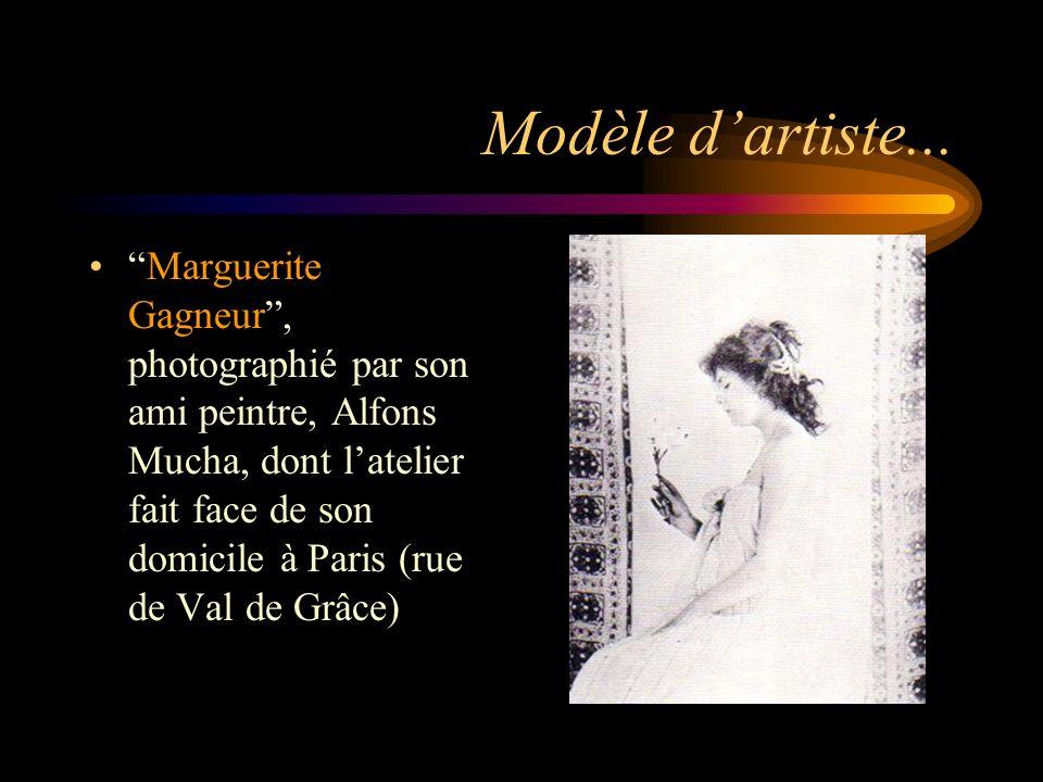 Modèle dartiste... Marguerite Gagneur, photographié par son ami peintre, Alfons Mucha, dont latelier fait face de son domicile à Paris (rue de Val de