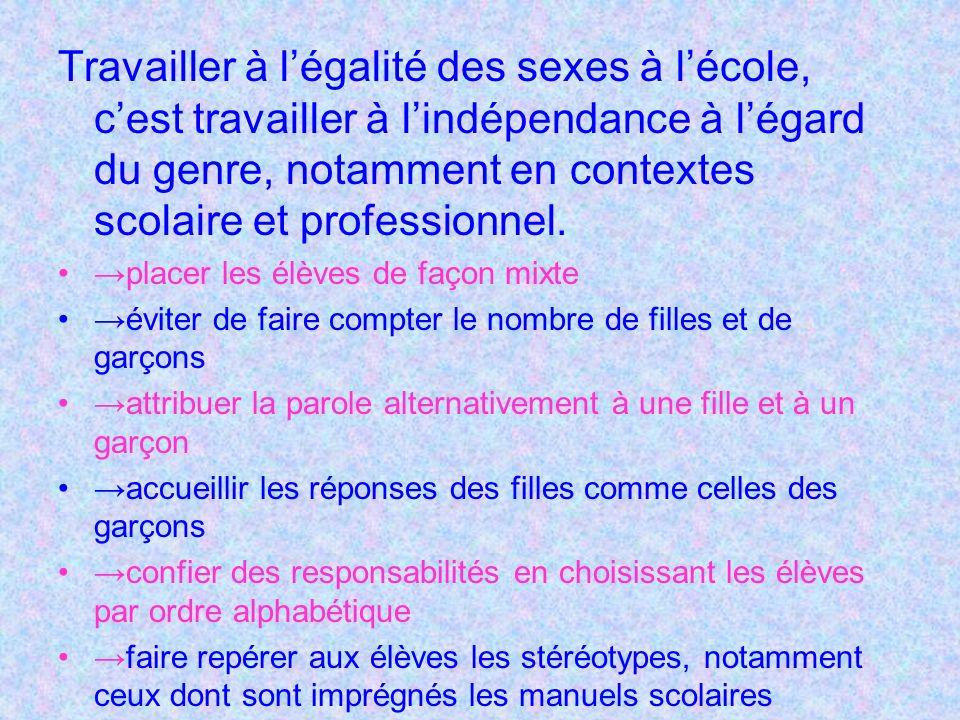 Travailler à légalité des sexes à lécole, cest travailler à lindépendance à légard du genre, notamment en contextes scolaire et professionnel.
