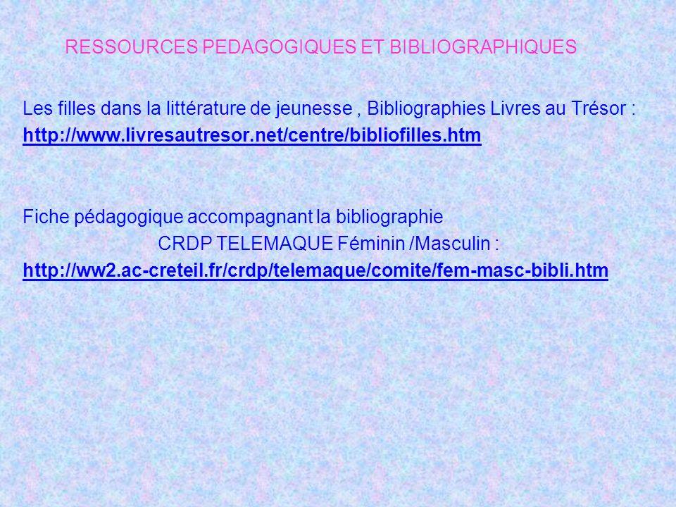 Les filles dans la littérature de jeunesse, Bibliographies Livres au Trésor : http://www.livresautresor.net/centre/bibliofilles.htm Fiche pédagogique accompagnant la bibliographie CRDP TELEMAQUE Féminin /Masculin : http://ww2.ac-creteil.fr/crdp/telemaque/comite/fem-masc-bibli.htm RESSOURCES PEDAGOGIQUES ET BIBLIOGRAPHIQUES