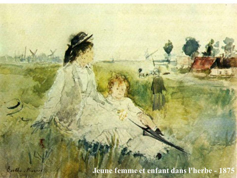 Jeune femme et enfant dans l herbe - 1875