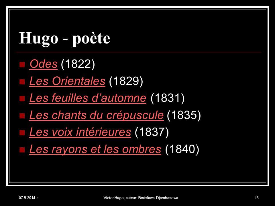 07.5.2014 г.Victor Hugo, auteur: Borislawa Djambasowa13 Hugo - poète Odes (1822) Les Orientales (1829) Les feuilles dautomne (1831) Les chants du crép
