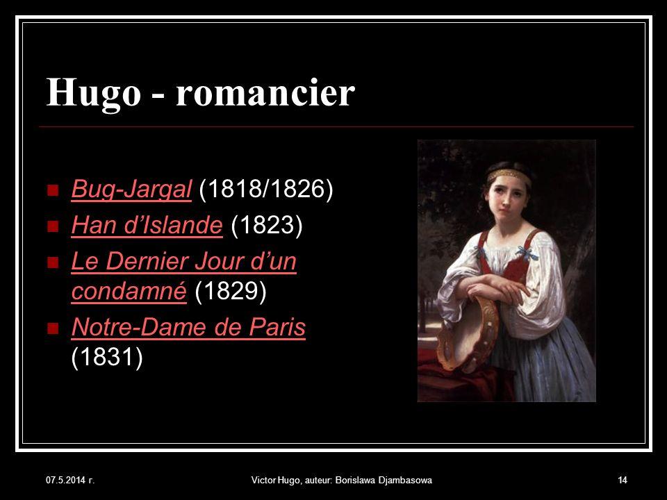 07.5.2014 г.Victor Hugo, auteur: Borislawa Djambasowa14 Hugo - romancier Bug-Jargal (1818/1826) Han dIslande (1823) Le Dernier Jour dun condamné (1829