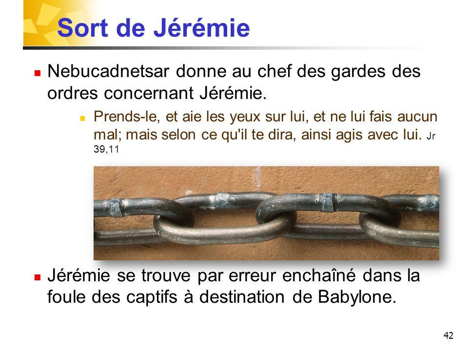 42 Sort de Jérémie Nebucadnetsar donne au chef des gardes des ordres concernant Jérémie.