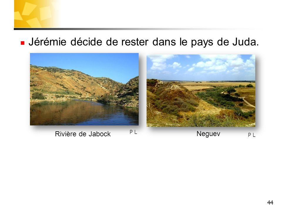 44 Jérémie décide de rester dans le pays de Juda. P L Rivière de Jabock Neguev