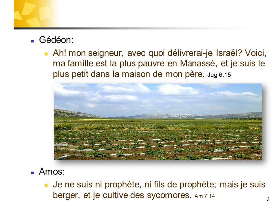 9 Gédéon: Ah! mon seigneur, avec quoi délivrerai-je Israël? Voici, ma famille est la plus pauvre en Manassé, et je suis le plus petit dans la maison d
