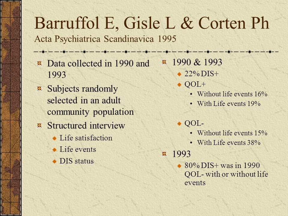 Barruffol E, Gisle L & Corten Ph Acta Psychiatrica Scandinavica 1995 Data collected in 1990 and 1993 Subjects randomly selected in an adult community