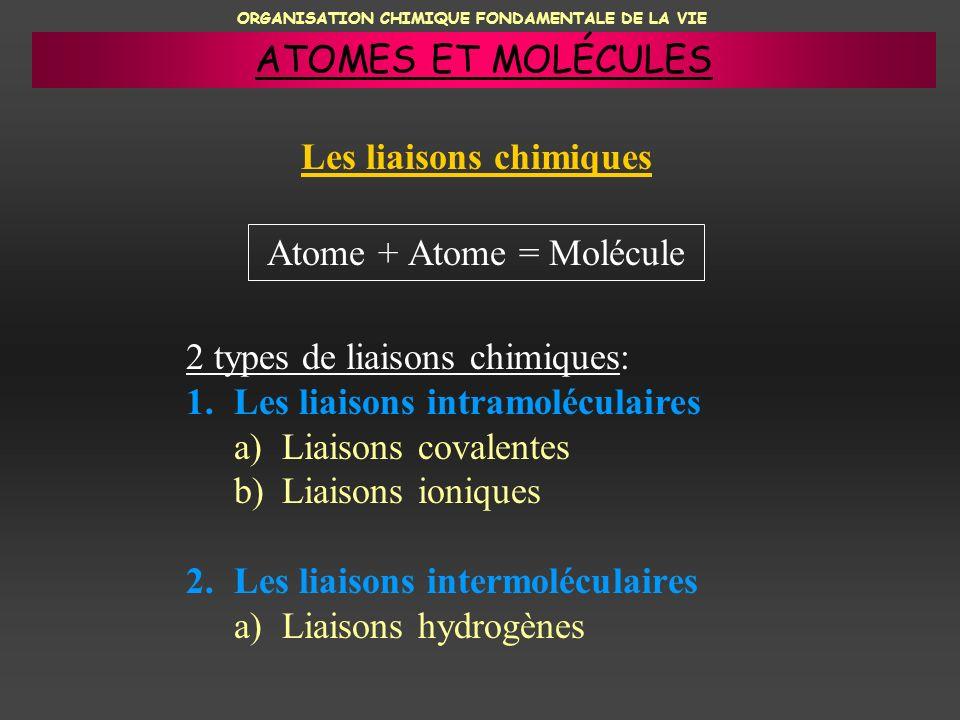 ORGANISATION CHIMIQUE FONDAMENTALE DE LA VIE Les liaisons chimiques Atome + Atome = Molécule 2 types de liaisons chimiques: 1.Les liaisons intramolécu