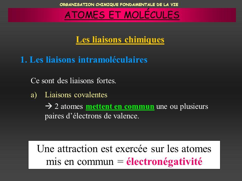 ORGANISATION CHIMIQUE FONDAMENTALE DE LA VIE 1. Les liaisons intramoléculaires a)Liaisons covalentes 2 atomes mettent en commun une ou plusieurs paire
