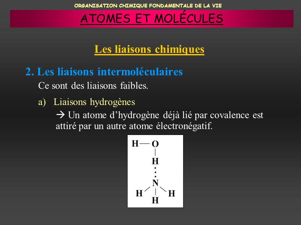 ORGANISATION CHIMIQUE FONDAMENTALE DE LA VIE 2. Les liaisons intermoléculaires a) Liaisons hydrogènes Un atome dhydrogène déjà lié par covalence est a
