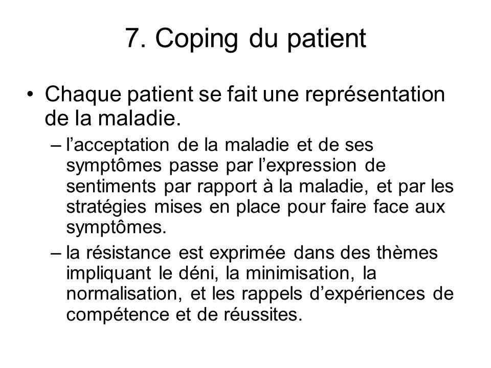 7. Coping du patient Chaque patient se fait une représentation de la maladie. –lacceptation de la maladie et de ses symptômes passe par lexpression de