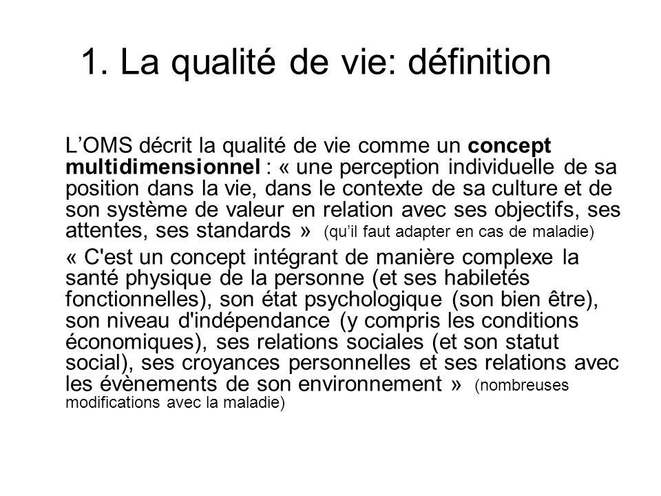 1. La qualité de vie: définition LOMS décrit la qualité de vie comme un concept multidimensionnel : « une perception individuelle de sa position dans