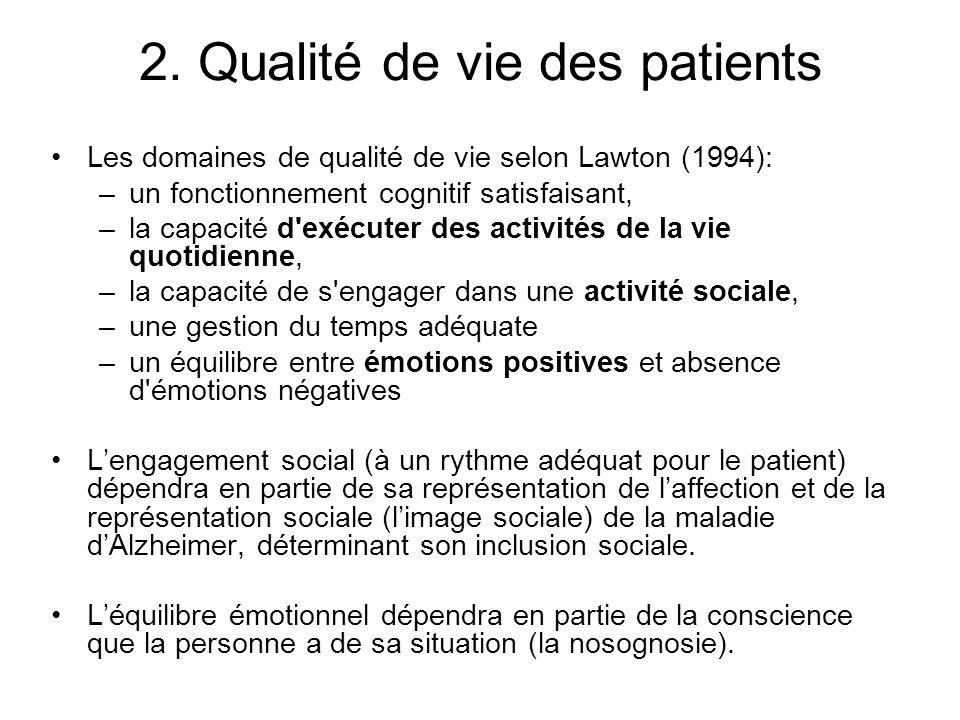 2. Qualité de vie des patients Les domaines de qualité de vie selon Lawton (1994): –un fonctionnement cognitif satisfaisant, –la capacité d'exécuter d