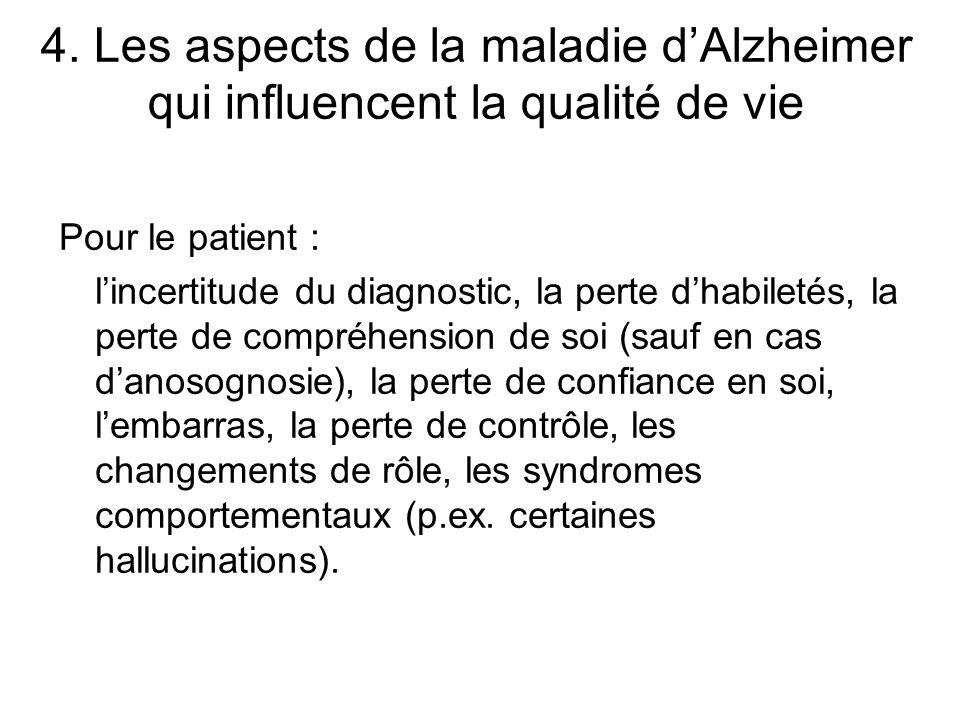 4. Les aspects de la maladie dAlzheimer qui influencent la qualité de vie Pour le patient : lincertitude du diagnostic, la perte dhabiletés, la perte