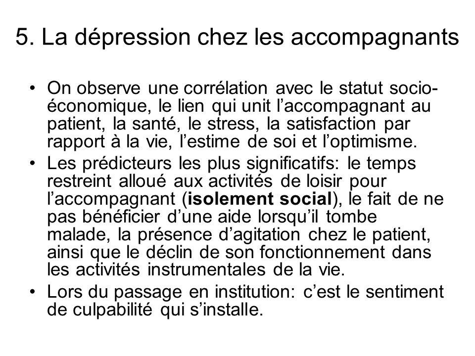 5. La dépression chez les accompagnants On observe une corrélation avec le statut socio- économique, le lien qui unit laccompagnant au patient, la san