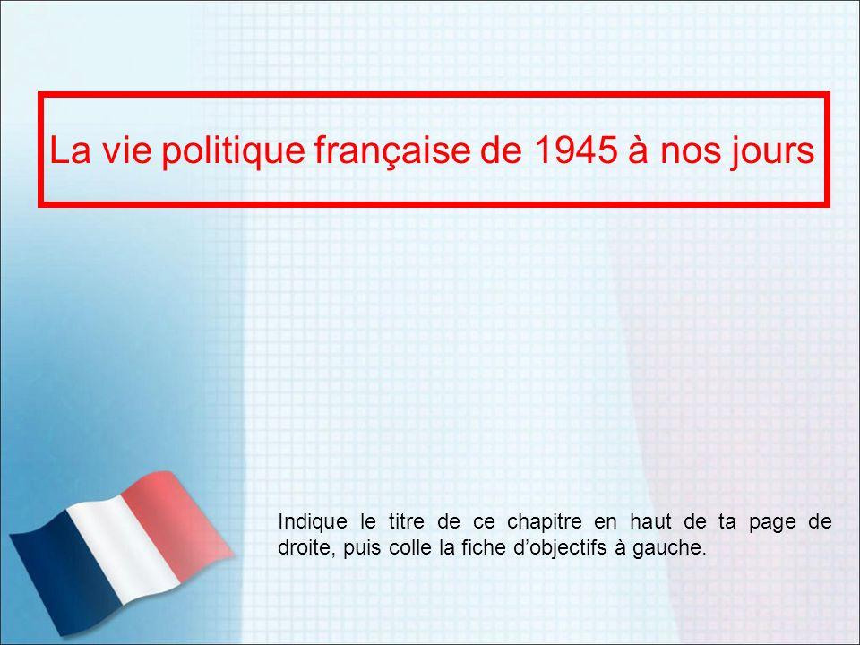 La vie politique française de 1945 à nos jours Indique le titre de ce chapitre en haut de ta page de droite, puis colle la fiche dobjectifs à gauche.