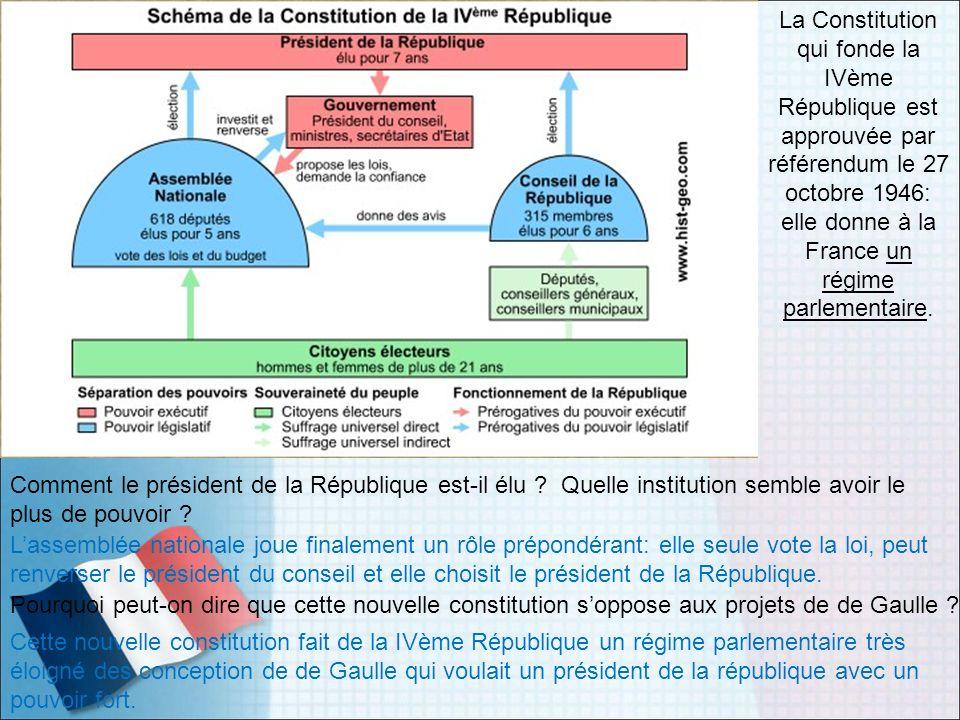 La Constitution qui fonde la IVème République est approuvée par référendum le 27 octobre 1946: elle donne à la France un régime parlementaire. Comment