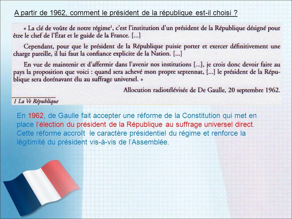 A partir de 1962, comment le président de la république est-il choisi ? En 1962, de Gaulle fait accepter une réforme de la Constitution qui met en pla