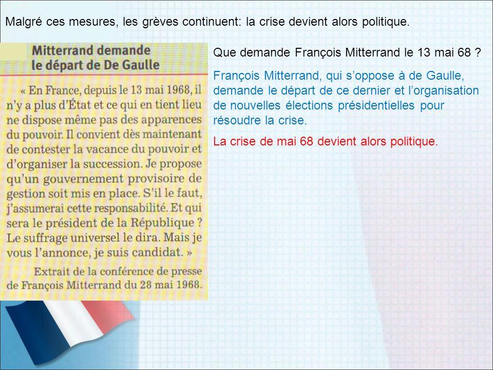 Malgré ces mesures, les grèves continuent: la crise devient alors politique. Que demande François Mitterrand le 13 mai 68 ? François Mitterrand, qui s