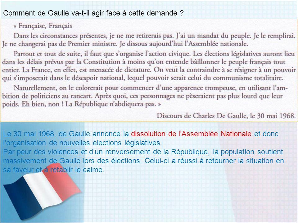 Comment de Gaulle va-t-il agir face à cette demande ? Le 30 mai 1968, de Gaulle annonce la dissolution de lAssemblée Nationale et donc lorganisation d