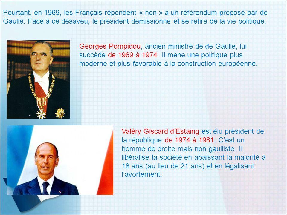 Pourtant, en 1969, les Français répondent « non » à un référendum proposé par de Gaulle. Face à ce désaveu, le président démissionne et se retire de l
