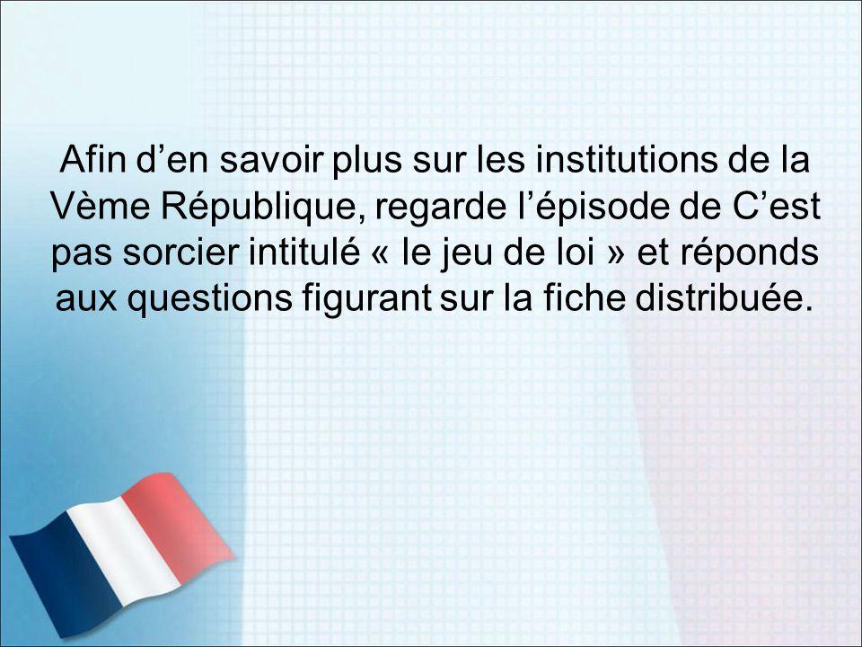 Afin den savoir plus sur les institutions de la Vème République, regarde lépisode de Cest pas sorcier intitulé « le jeu de loi » et réponds aux questi