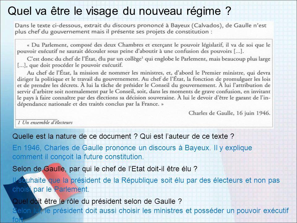 Quel va être le visage du nouveau régime ? Quelle est la nature de ce document ? Qui est lauteur de ce texte ? En 1946, Charles de Gaulle prononce un