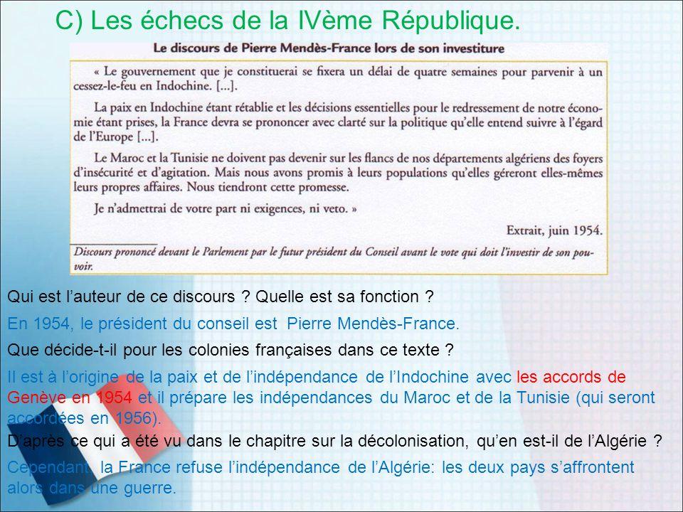 C) Les échecs de la IVème République. Qui est lauteur de ce discours ? Quelle est sa fonction ? En 1954, le président du conseil est Pierre Mendès-Fra
