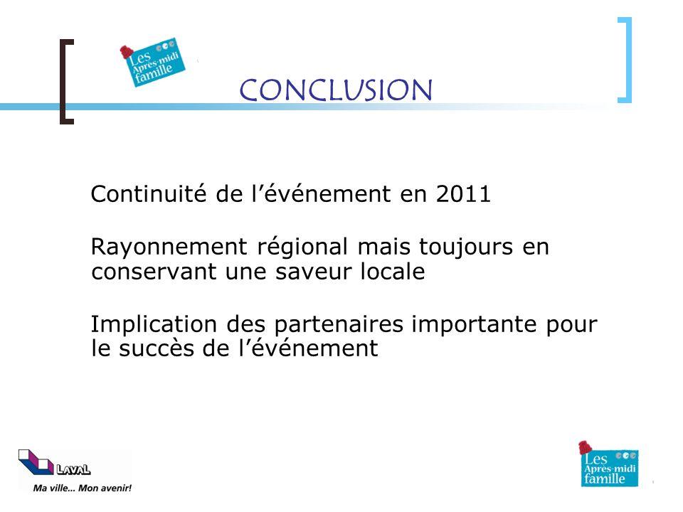 CONCLUSION Continuité de lévénement en 2011 Rayonnement régional mais toujours en conservant une saveur locale Implication des partenaires importante