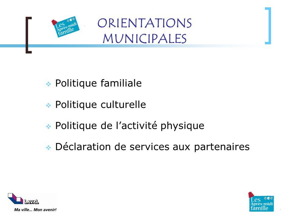 ORIENTATIONS MUNICIPALES Politique familiale Politique culturelle Politique de lactivité physique Déclaration de services aux partenaires