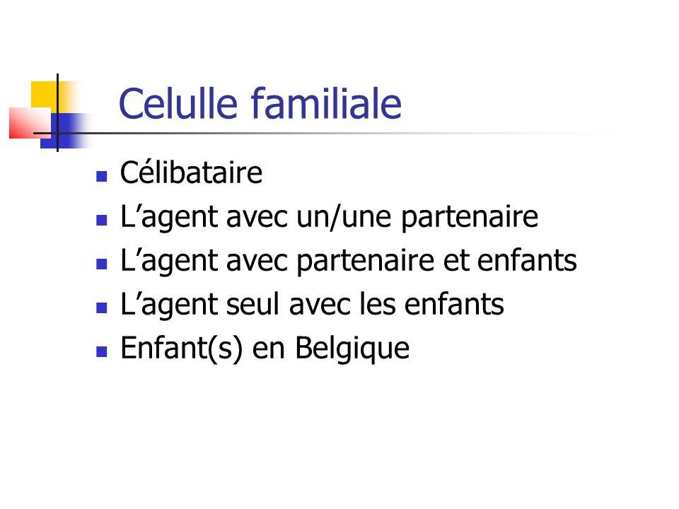 Celulle familiale Célibataire Lagent avec un/une partenaire Lagent avec partenaire et enfants Lagent seul avec les enfants Enfant(s) en Belgique
