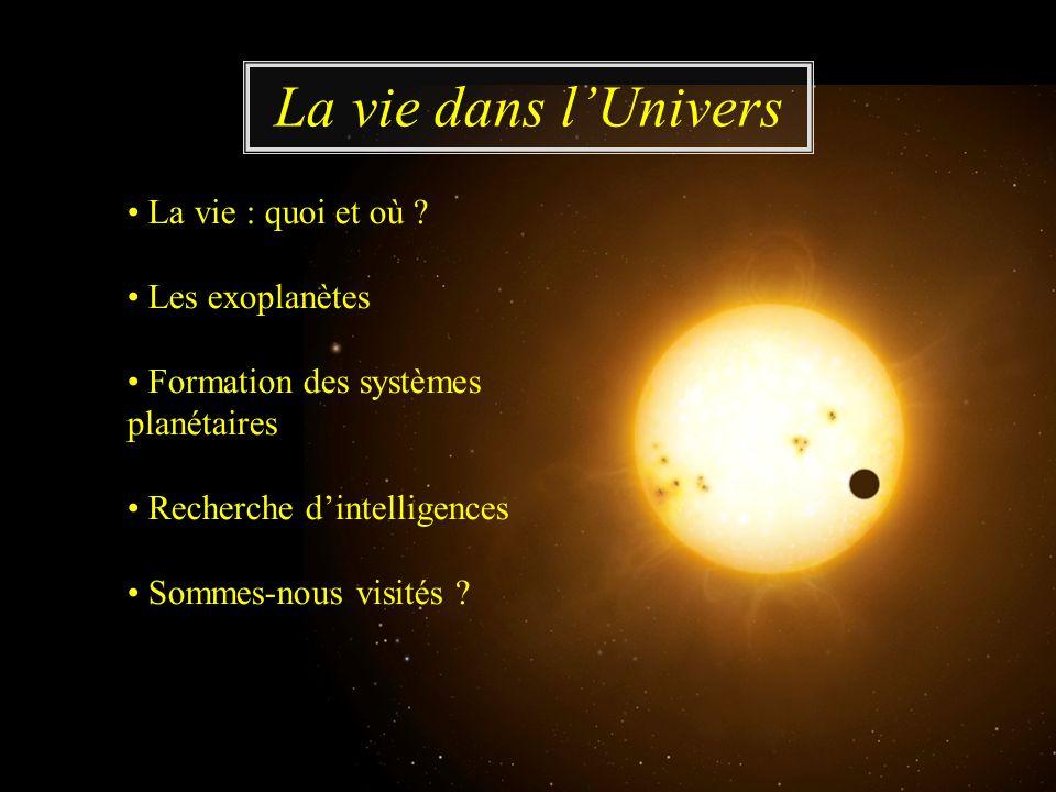 La vie : quoi et où ? Les exoplanètes Formation des systèmes planétaires Recherche dintelligences Sommes-nous visités ? La vie dans lUnivers