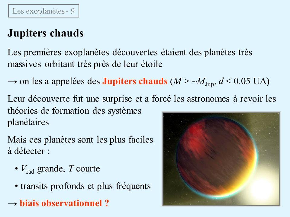 Jupiters chauds Les premières exoplanètes découvertes étaient des planètes très massives orbitant très près de leur étoile on les a appelées des Jupit