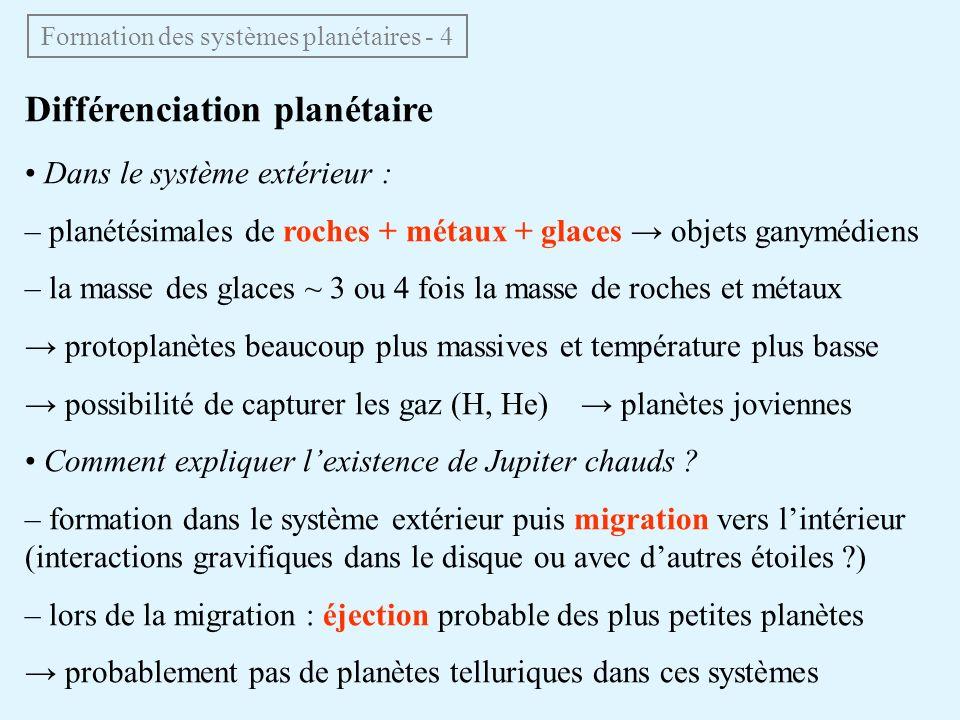 Différenciation planétaire Dans le système extérieur : – planétésimales de roches + métaux + glaces objets ganymédiens – la masse des glaces ~ 3 ou 4