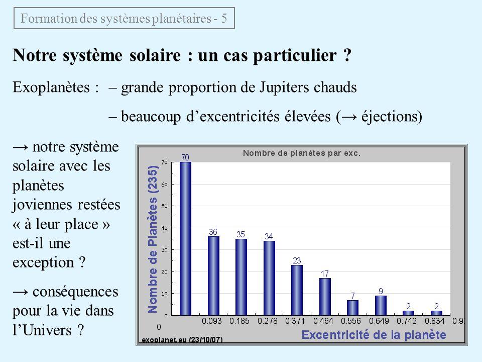 Notre système solaire : un cas particulier ? Exoplanètes :– grande proportion de Jupiters chauds – beaucoup dexcentricités élevées ( éjections) Format