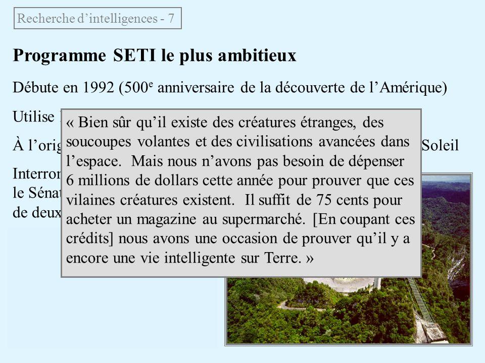 Programme SETI le plus ambitieux Débute en 1992 (500 e anniversaire de la découverte de lAmérique) Utilise le radiotélescope dArecibo (300 m) à Porto