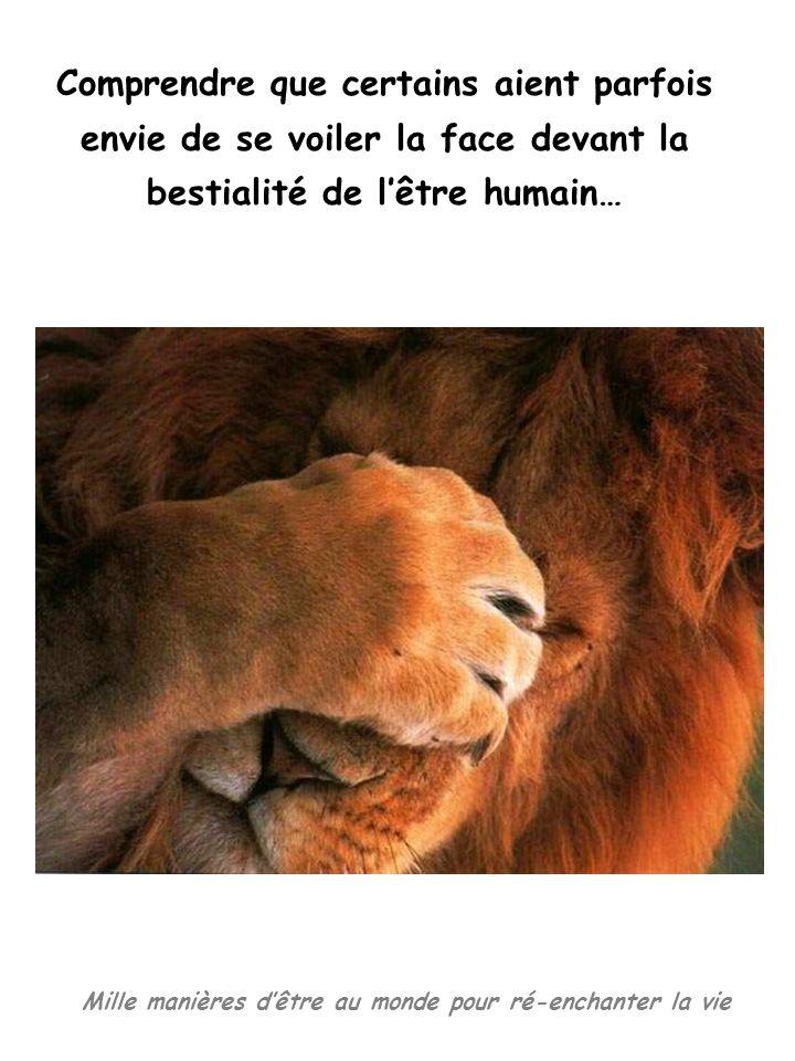 Mille manières dêtre au monde pour ré-enchanter la vie Comprendre que certains aient parfois envie de se voiler la face devant la bestialité de lêtre humain…