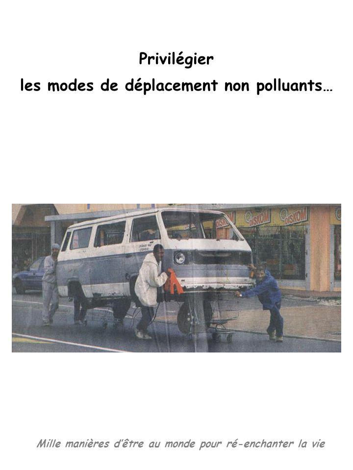 Mille manières dêtre au monde pour ré-enchanter la vie Privilégier les modes de déplacement non polluants…