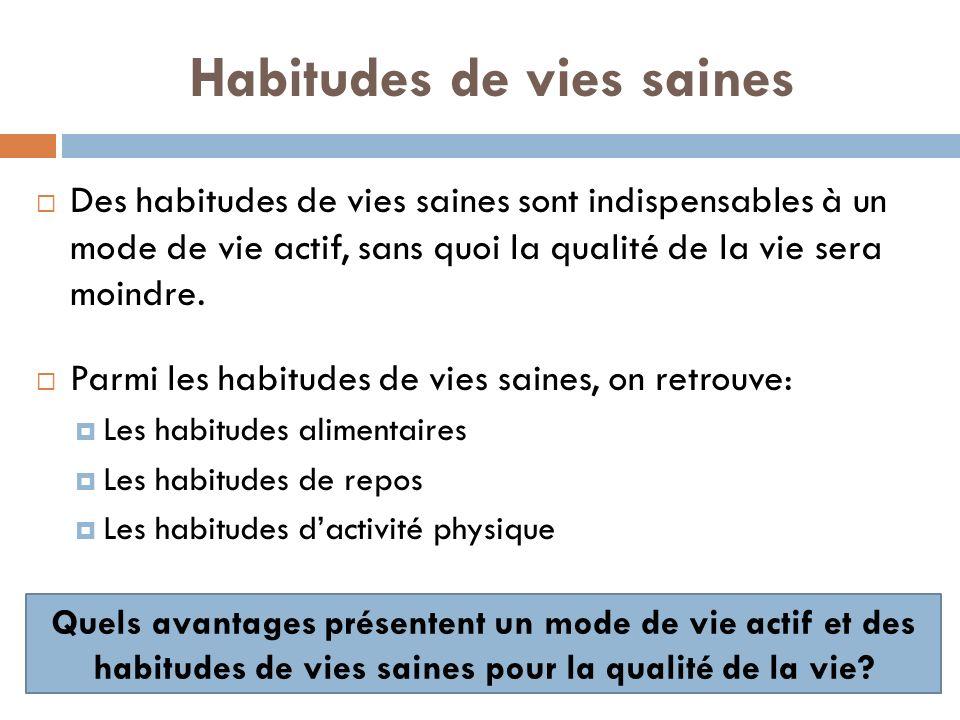 Habitudes de vies saines Des habitudes de vies saines sont indispensables à un mode de vie actif, sans quoi la qualité de la vie sera moindre.