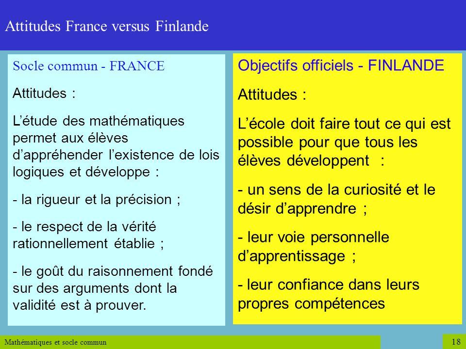Mathématiques et socle commun 18 Socle commun - FRANCE Attitudes : Létude des mathématiques permet aux élèves dappréhender lexistence de lois logiques