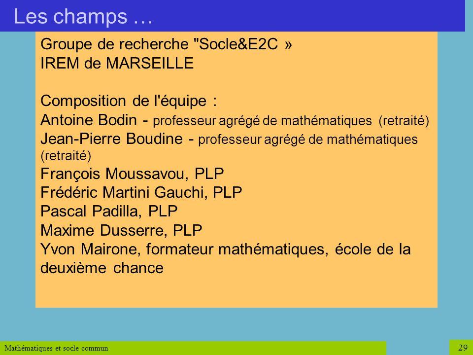 Mathématiques et socle commun 29 Groupe de recherche
