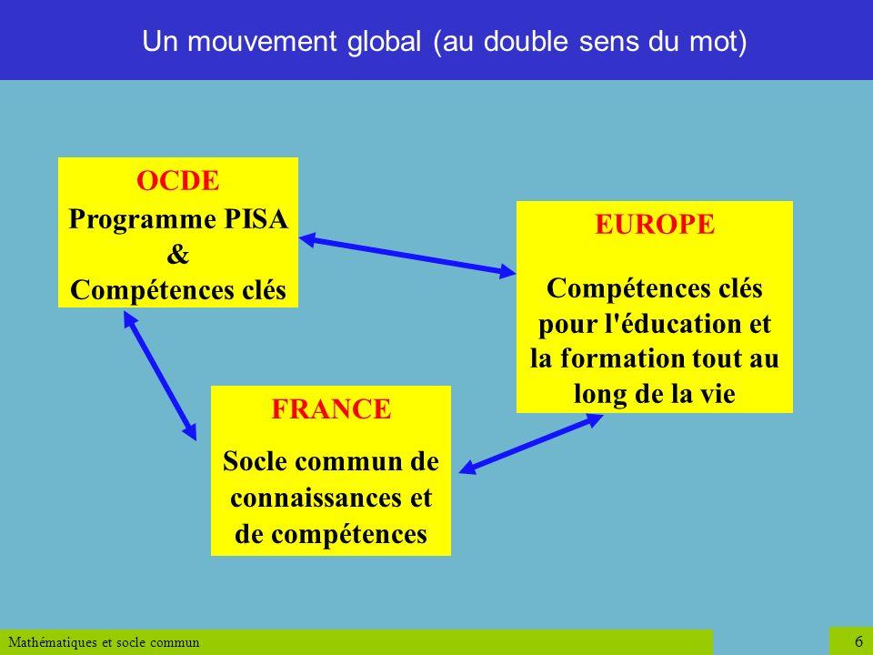 Mathématiques et socle commun 7 Le cadre de référence [européen] décrit huit compétences clés : 1.